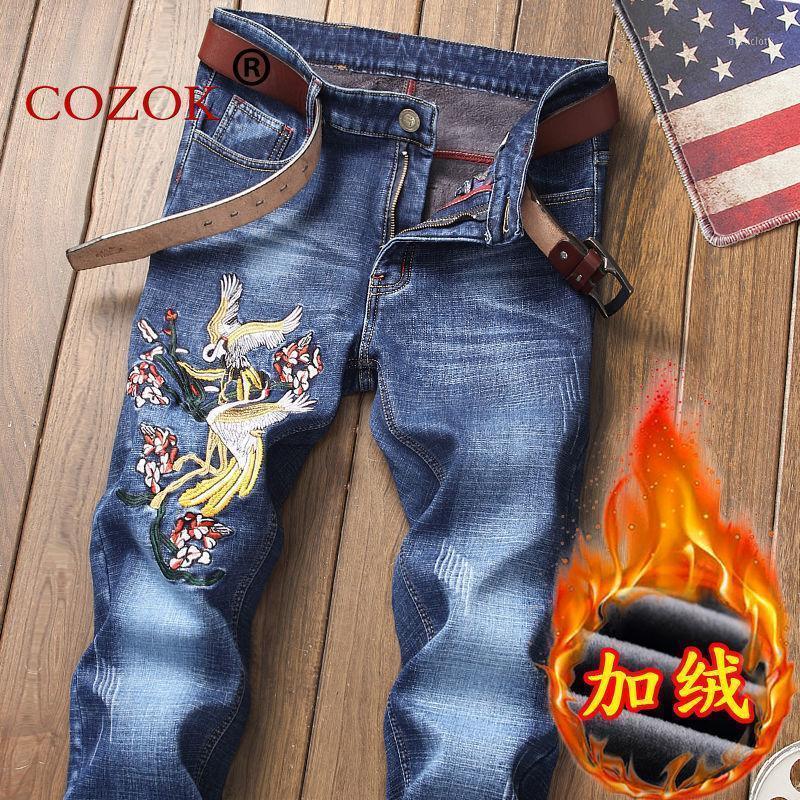 Модная осень и зима плюс бархатная толстая мужская вышивка с цветочными джинсами свободных футов Tide Brand молодежь напечатанные шаблон штанты1