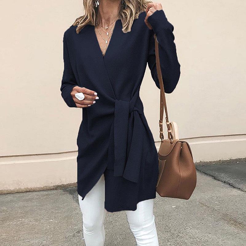 Casacos de manga longa das mulheres outono casual de manga casual com cinturão Lace Up Outwear Office V Neck Roupas para roupas femininas
