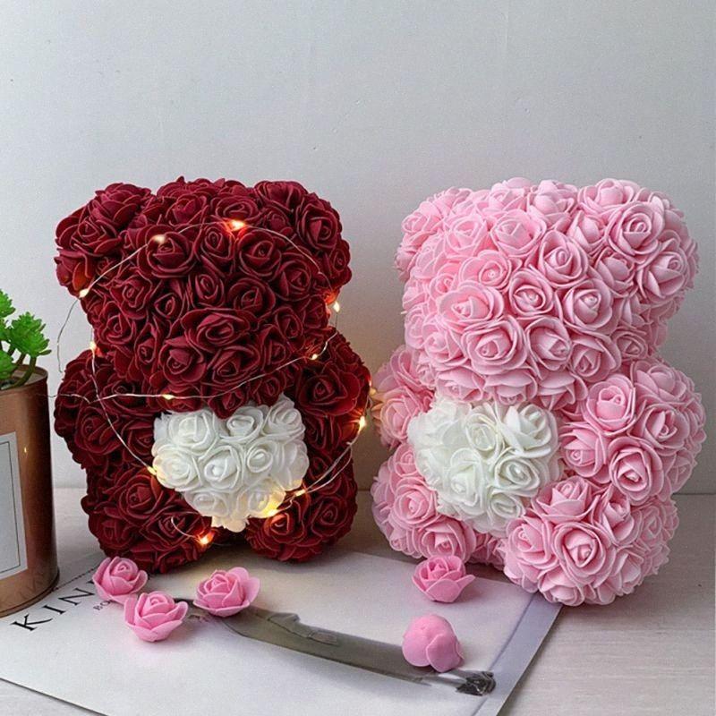 2020 2020 vendita calda Orsacchiotto Con in contenitore di regalo Orso Di Regali Rose Fiore artificiale nuovo anno per le donne di San Valentino regalo G6Pv #