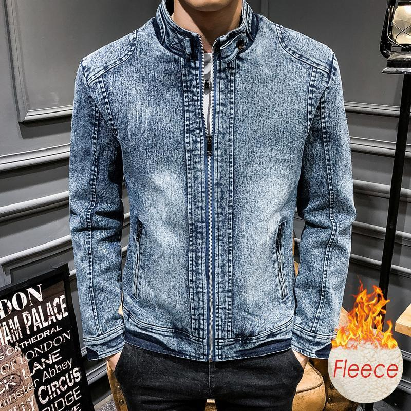 Männer Jacken Männer 2021 Herbst Winter 100% Baumwolle Fleece Jeansjacke Mantel Outwear Outfits Warme Vintage Klassische Waschen