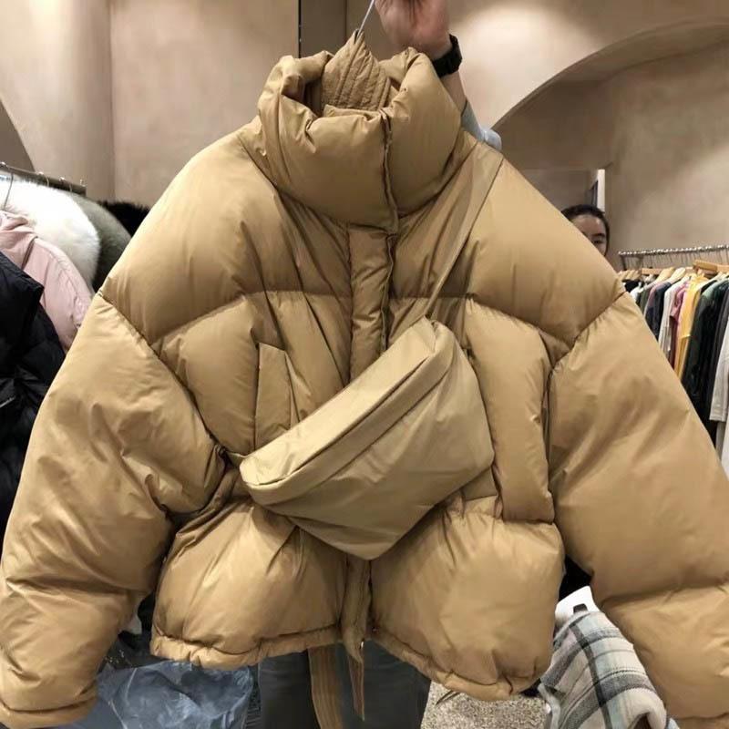 Gbyxty Corée en vrac Goutte d'épaule court manteau avec le sac de poitrine Femmes d'hiver à col roulé duvet de canard Doudoune Za2269