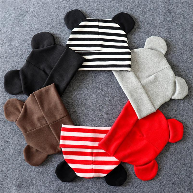 Infant Baby Cartoon Rabbit Ear Cotton Hat Kids Boys Girls Autumn Winter Fashion Outdoor 2-Layers Warm Hats Solid Color Head Wear F101601