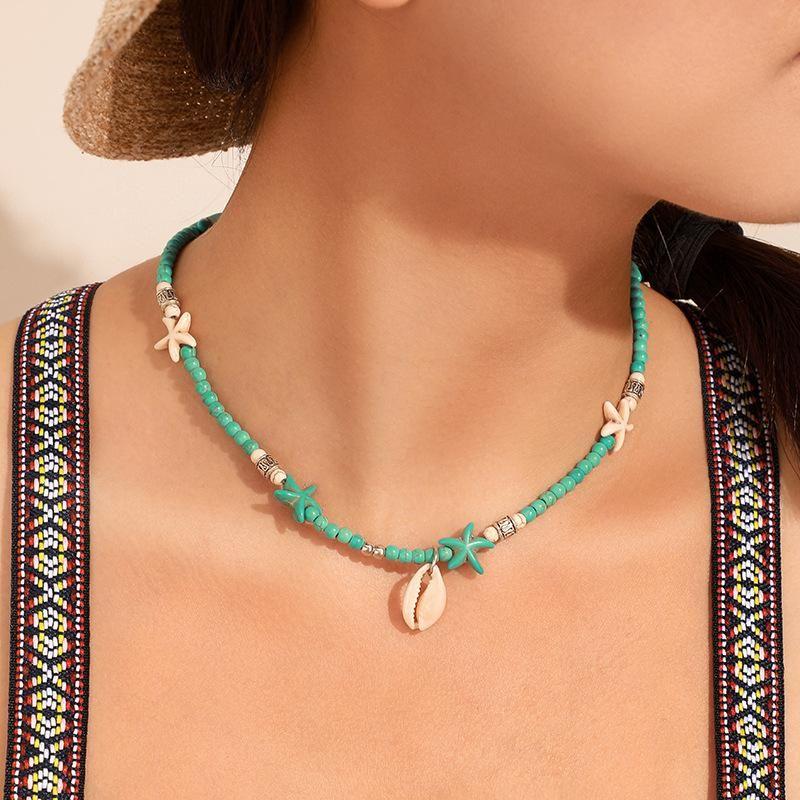 Bohemian White Blue Starfish Раковины ожерелье лето море Золото Shell Женщины моды Камень Морская звезда из бисера ювелирные подарки
