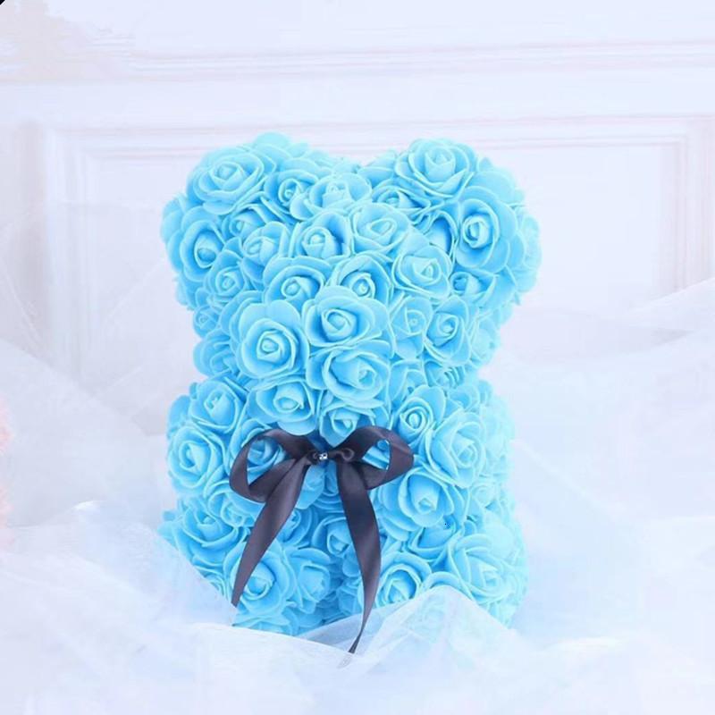 10pcs Nouvelle Saint Valentin Cadeau PE Rose Bear Toys farcis plein d'amour Romantique Teddy Ours Poupée Jolie petite amie Enfants Présent 25cm