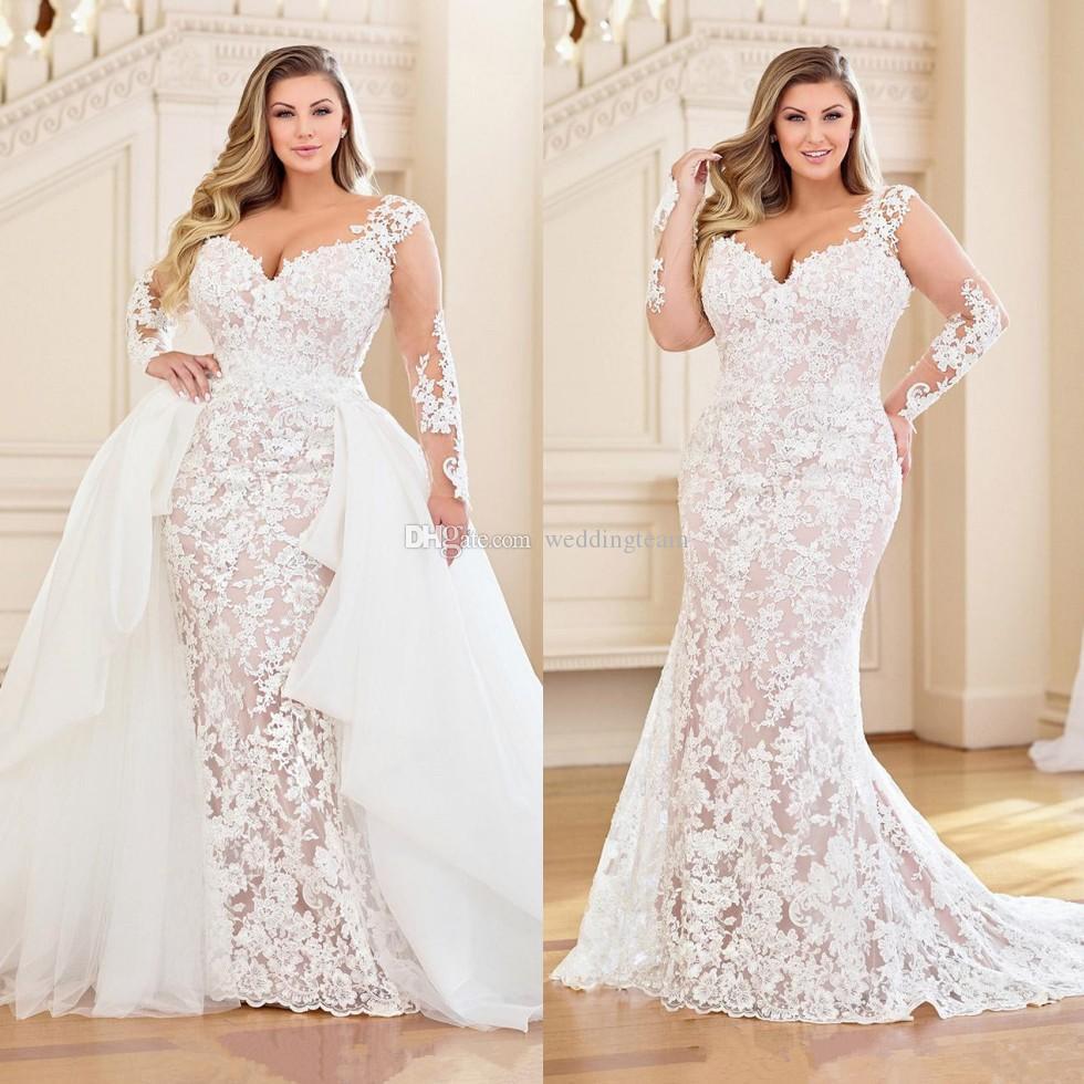 Robes de mariée en dentelle de la dentelle de charme et de la taille avec un train détachable chérie manches longues manches longues robes de mariée Sweep train robe de mariée