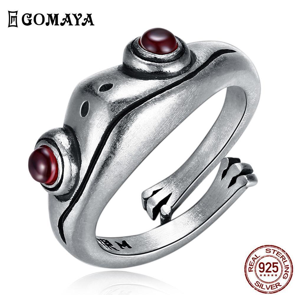 GOMAYA 925 Sterlingsilber-Ring Frosch Retro Persönlichkeit kreative tierische Unisex rote Granat-Frosch öffnen justierbare Ringe Fine Jewelry 201026