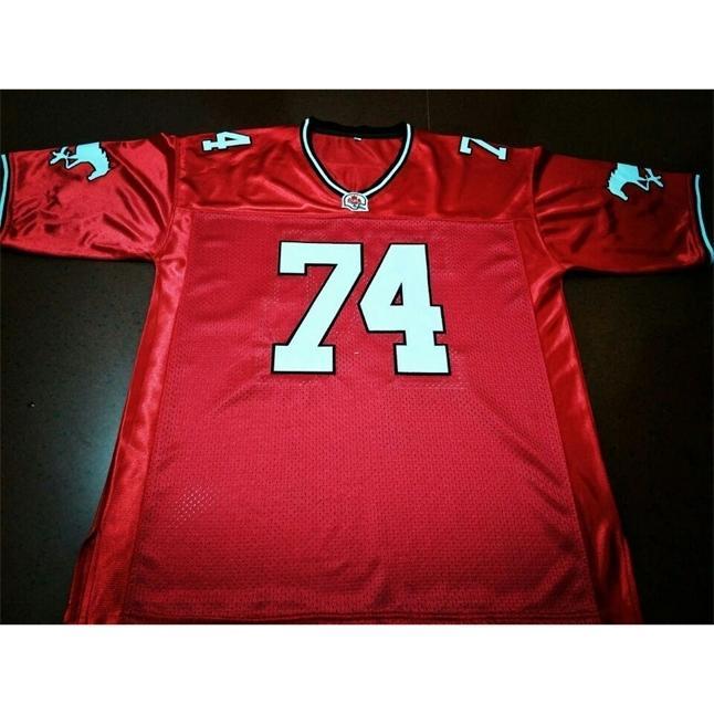 Seltene 2604 rote Calgary-Stampeder # 74 Dwayne Johnson Real Full Stickerei College-Jersey-Größe S-4XL oder benutzerdefinierte Neiner Name oder Nummer Jersey