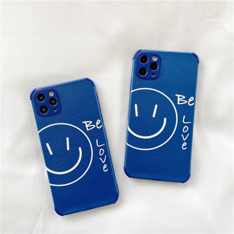 Blue Soft PU Smile Cas de sourire pour iPhone 12 Mini 11 Pro Max X XS MAX XR SE2 8/7 Plus Coque Couvre 50pcs