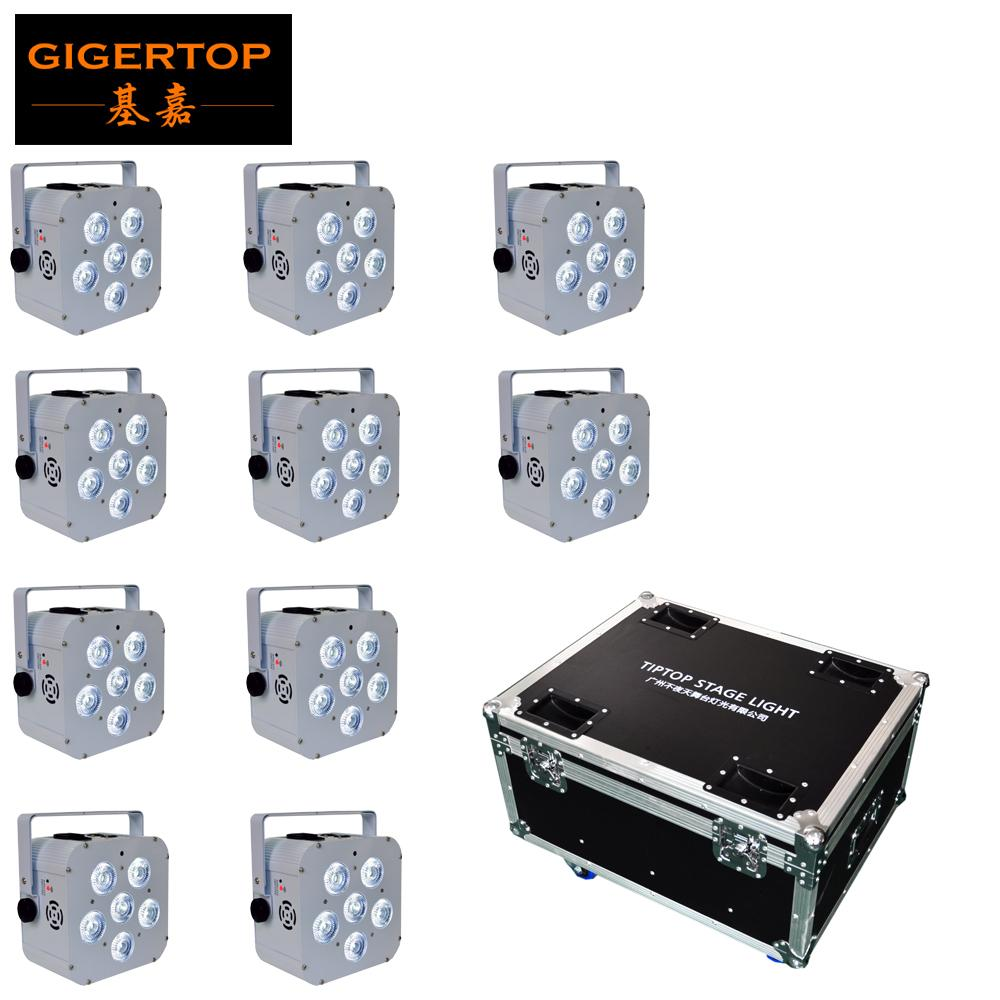 TP-B04 Прямая продажа Цена 10XLOT DMX 6 / 10CH RGBWA UV DMX512 Control China Led Par Стаканчики 6 * 18W 2.4G беспроводной приемник 90V-240V TIPTOP TP-P112