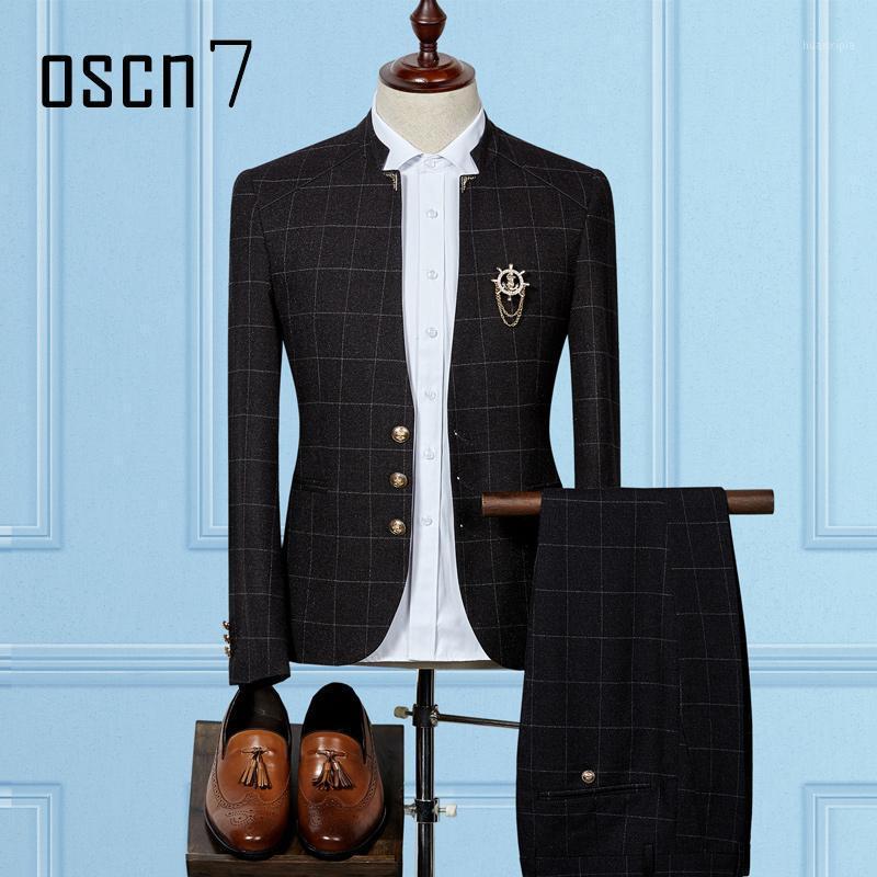 Wholesale- Oscn7 Travaches à carreaux Hommes Slim Fit Stand Collier 2017 Nouveau Terno Masculino 2 pièces Costumes de mariage pour hommes Costume Homme (Blazer + pantalon) 1