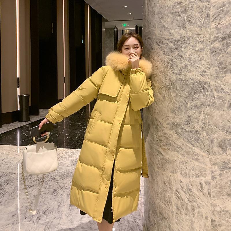 Parkas femeninas 2021 otoño invierno sólido sólido chaqueta con capucha sueltas mujeres gran cuello de piel algodón acolchado abrigo abrigo ropa exterior