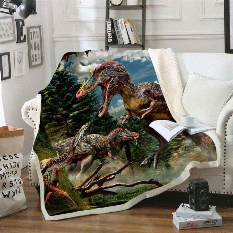 Dinozor Jurassic Komik Karakter Battaniye Yatak Ev Tekstili Dreamlike Stil 02 ko1o # On Sherpa Blanket yazdır 3D