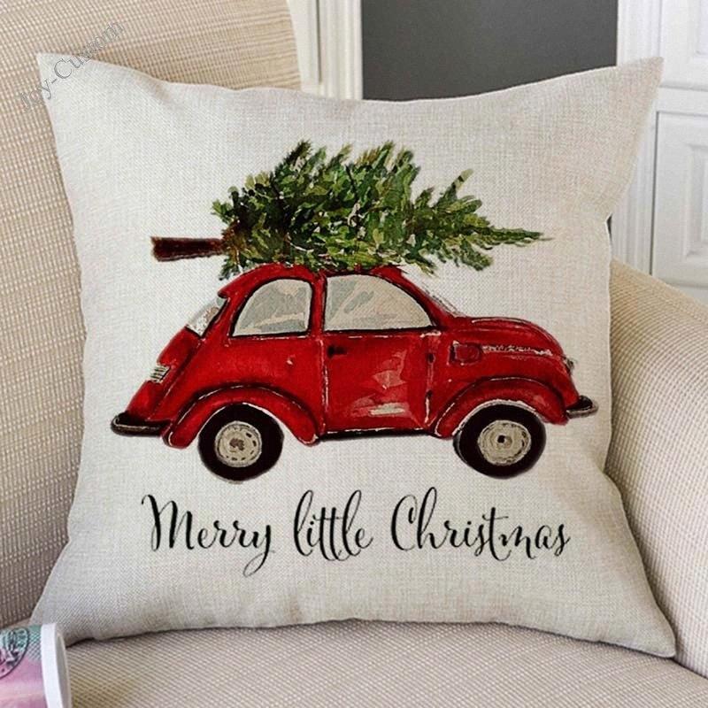 Arte da aguarela do carro vermelho que leva presente da árvore do Natal Decoração Sofá Lance Coxim fronha de algodão Linho Xmas Capa G5gz #