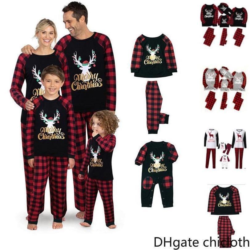 США Stock Рождество Пижамы Комплекты для семьи Набор одежды пижамы Топы Куклы и брюки Родитель Ребенок Outfit Parent-Child Xmas Party FY9251