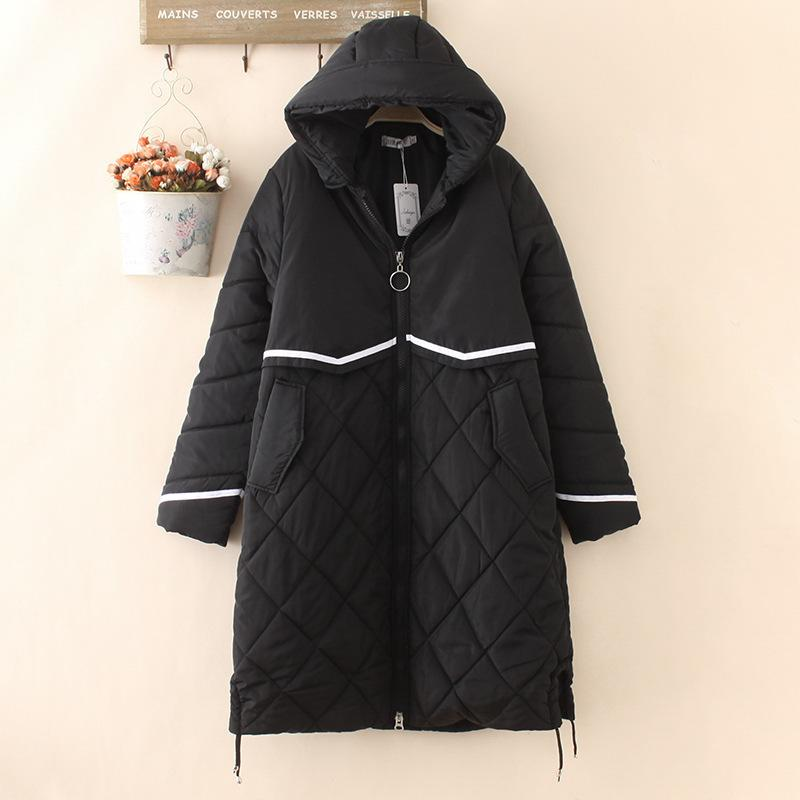 Woman Winter Coats Oversize Hooded White Bar Thick Warm Long Parka Jacket Women Coats And Jackets Women 210203