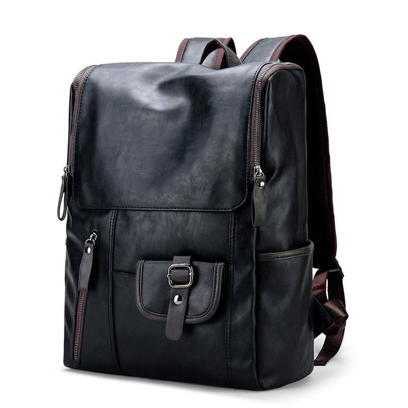 Mochila cuaderno bolsas de hombro negro hombres mochila casual hombre bolso de libro Vintage PU Mochilas de cuero para bolsas de escuela Boys Bagpack