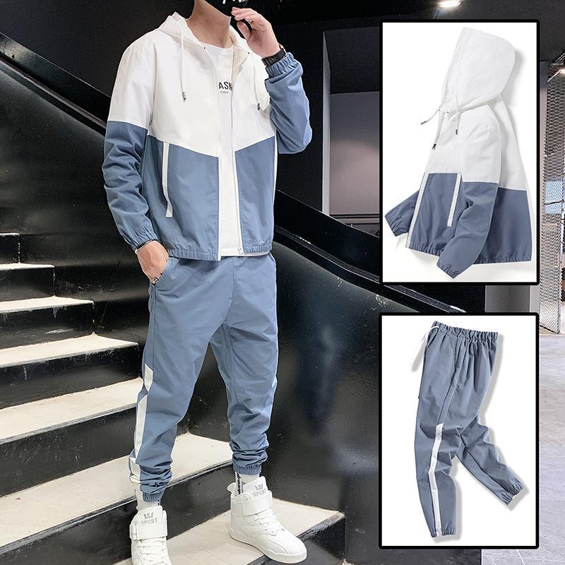 Casual Pezzo Hop uomo Dropshipping 2020 stile coreano 2 Patchwork Imposta Hip abiti maschili Streetwear fitness maschile Tuta