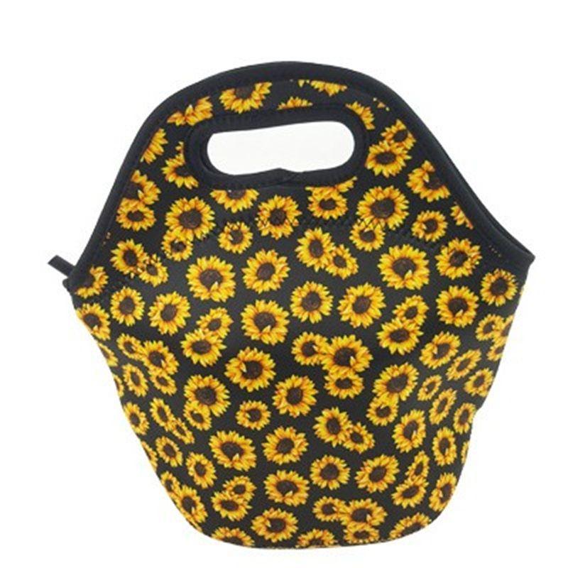 Uygun Ayçiçeği Baskılı Öğle Yemeği Çantası Neopren Yalıtımlı Soğutucular Çanta Taşınabilir Gıda Konteynerleri Fit Açık Piknik Sıcak Satış 13ny E1
