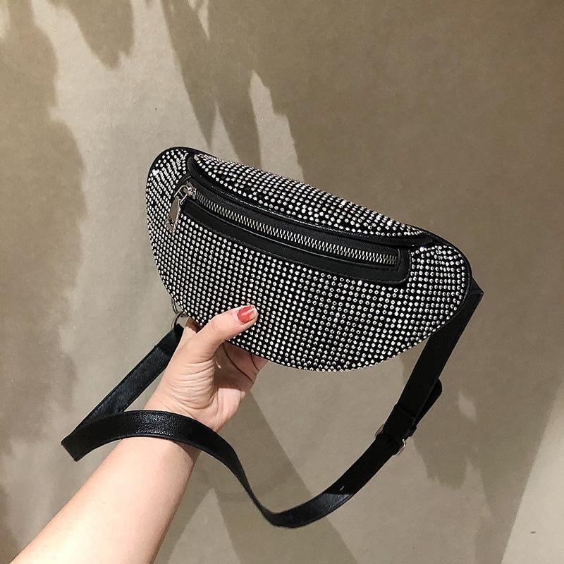 Малый черный мешок мешок женщин 2020 Новый Chaohua Версия Small Inserted с бриллиантом талии и груди