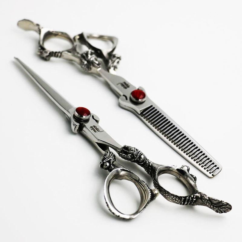 6-Zoll-Professionelle Friseurscheren-Set Schneiden + Ausdünnung Barber Schere Hochwertige Drachen Griff Personality Stile