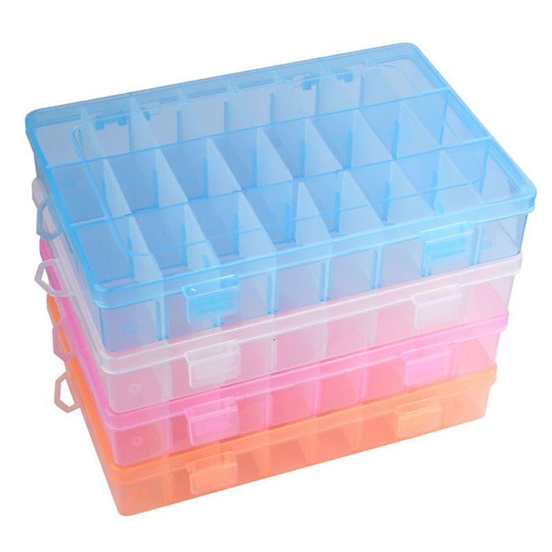 Caja de plástico Pendiente Joyas de almacenamiento Caja ajustable 24 compartimento GNWOT