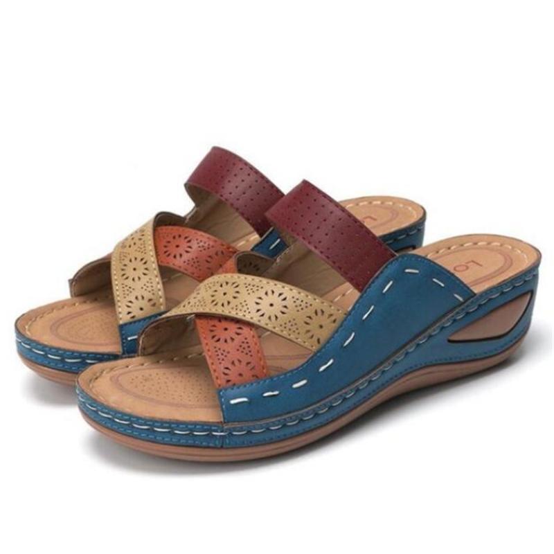 De nouvelles grandes sandales femmes de taille spartiates WISP occasionnels pantoufles de coin à bout ouvert sandalias mujer femmes chaussures plate-forme