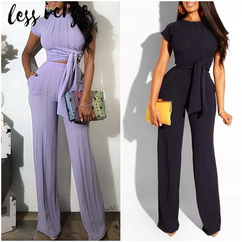 Lessverge malha preto Jumpsuit Treino Mulheres Define elegante terno de duas peças Conjuntos Mujer Playsuit 2 peças Set Top e calças
