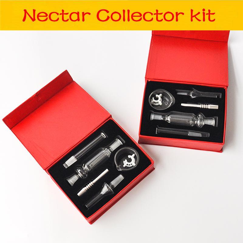 Dab Stroh Bohrinseln Glas Collector Kit mit 10mm Edelstahl-Spitze und Clip Wachs Schale für Rohrwasserleitung Handgröße Glas Ölbrenner