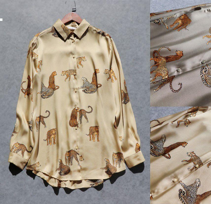 Mujer 2021 nuevo leopardo otoño impreso manga larga camisa satinada recta mujer cfst wgbi