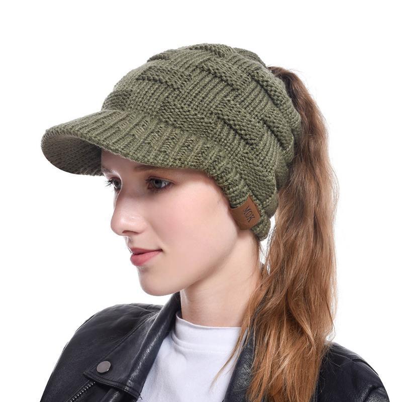 2020 gorra de béisbol de invierno hecha punto caliente para la muchacha los deportes ocasionales elástico ajustable Messy Bun plegables del visera Gorra