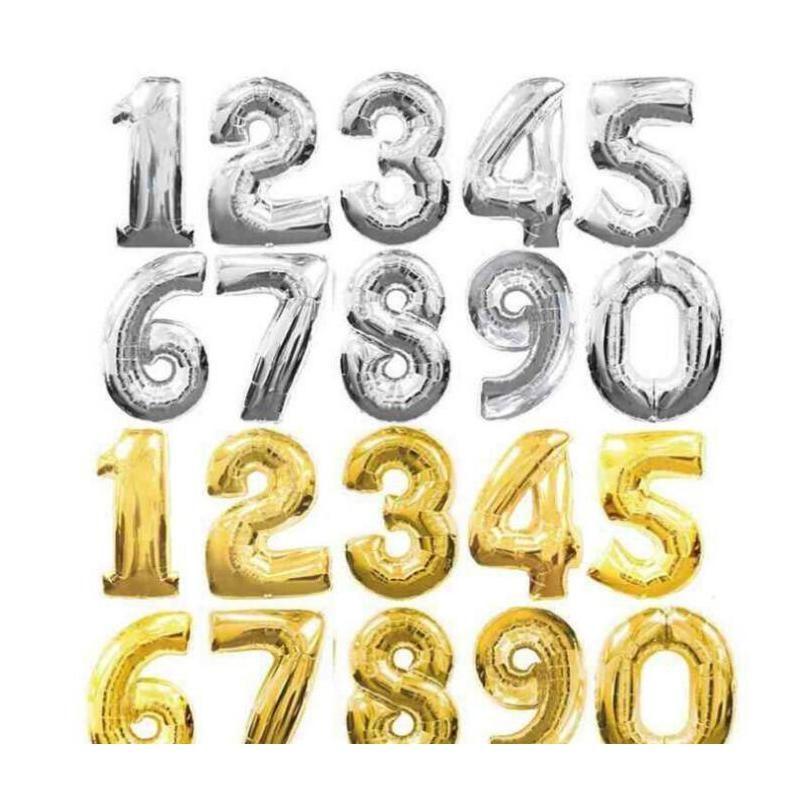 40-дюймовый золотой и серебристый буквенно-цифровой алюминиевый воздушный шар 2018 Новый день рождения декорирование больших Hy Wmtscy dh_seller2010
