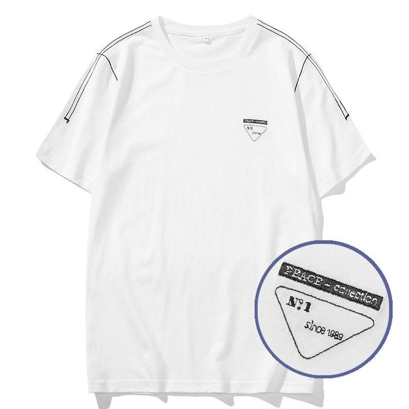P marque Tide 2020 printemps et en été Wind rue couleur contraste lettre rayé broderie coton mode col rond manches courtes T-shirt pour