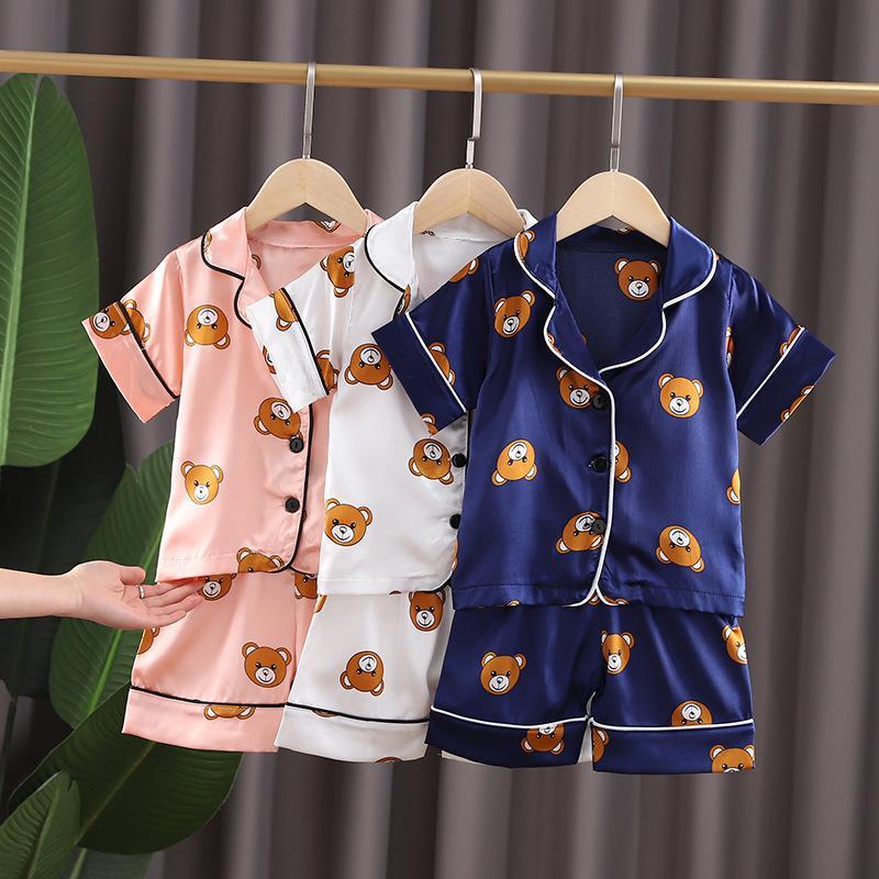 Erkekler İpek Pijama Yeni Yaz Kısa Kollu Çocuk Giyim Kız Pijama 1-5 Yaşında Pijama Çocuk Eğlence Pijama Setleri