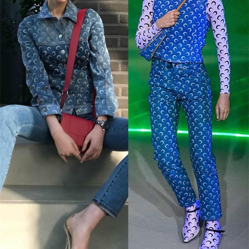 Мода классический модный бренд роскошный дизайн луна топ письмо печатается тонкий джинсовая куртка женские пальто лодыжки джинсы джинсы брюки м2