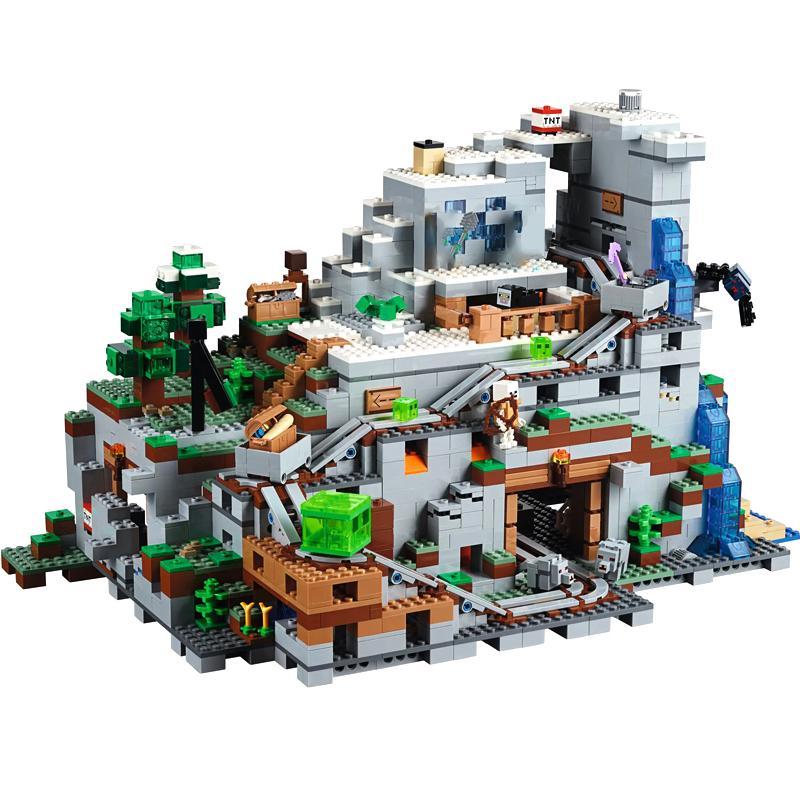 Stokta Yaratan 18032 Minecraft Mağarası Montajlı Yapı Taşı Oyuncaklar Uyumlu 21137
