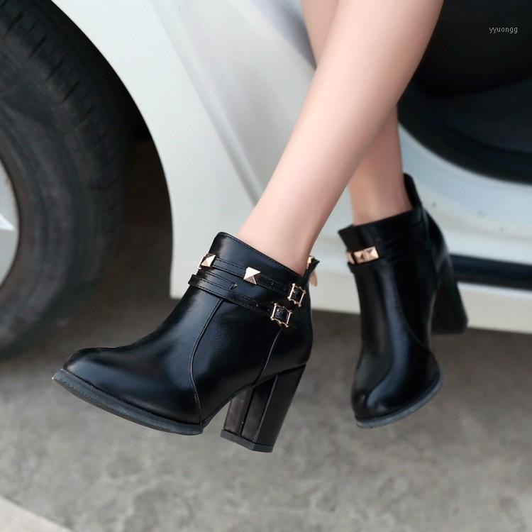 Botas tamanho grande calcanhar áspero, cabeça redonda média, zíper traseiro grosso, botas curtas1