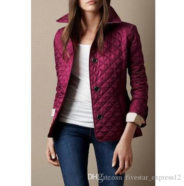 breasted de la chaqueta-Single valor Comprar Classic Diamond Inglaterra Londres Jersey Blazer capa de las mujeres de manga larga acolchada chaquetas de abrigo color caqui 3XL