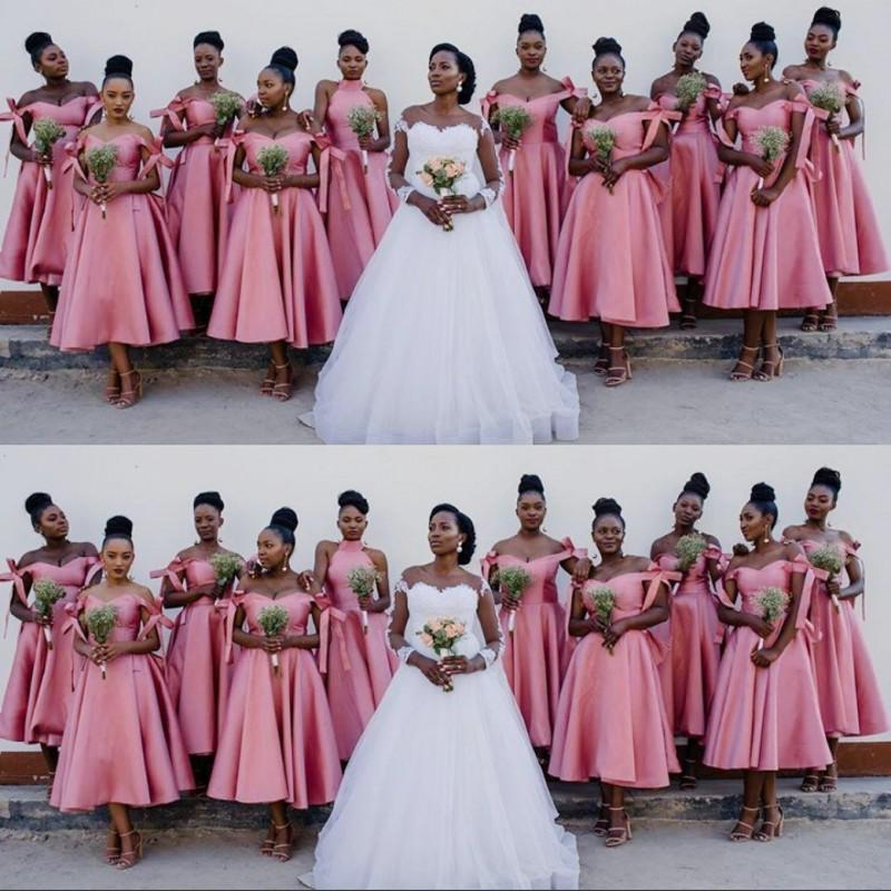 Pink African Bridesmaid Dresses Off The Shoulder Plus Size Wedding Party Dress Tea Length Robbons vestido de Maid Of Honor Dresses