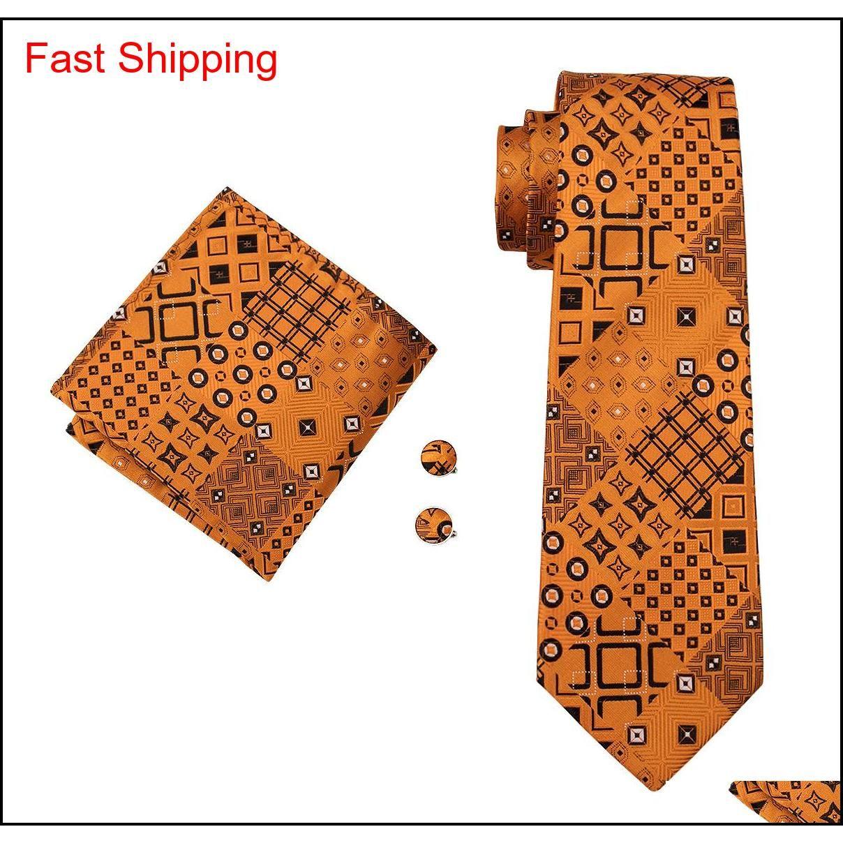 Moda uomo cravatta ClassCi Seta Mans Collo Cravatta Gold Tie Set Tie Tie Hanky Gemelli Set Jacquard Tessuto Meeting Business We Qylgqn Queen66