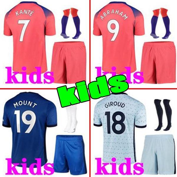 2020 2021 T.Silva Kids Sets Jersey Soccer Ziyzch Kante Havvertz Mountz Mount Rudiger Jorginho Abraham Pulisic Football Shacksuits Chemise avec chaussettes