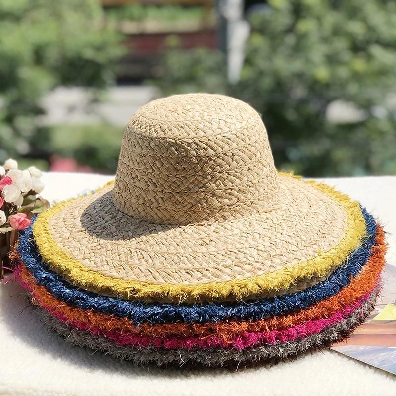 Fashion Summer Multicolor Decorate Paper Straw Dome Hat Outdoor Women Wide Brim Sun Hats Breathable beach travel Cap