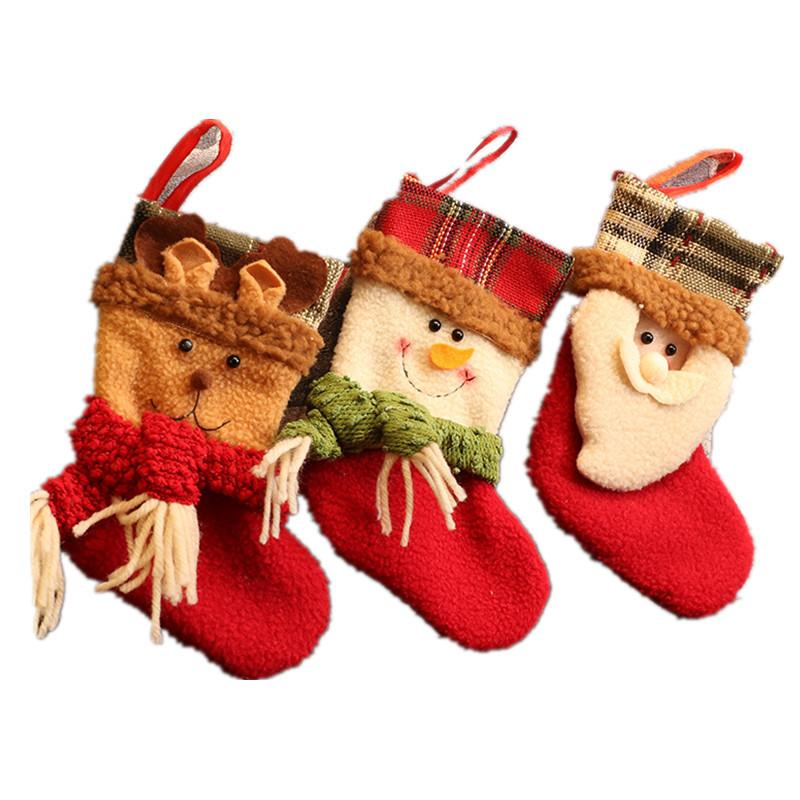 Бесплатная доставка Новый мультфильм мило рождественские чулки Рождественские сцены елочных мини-носки F4803