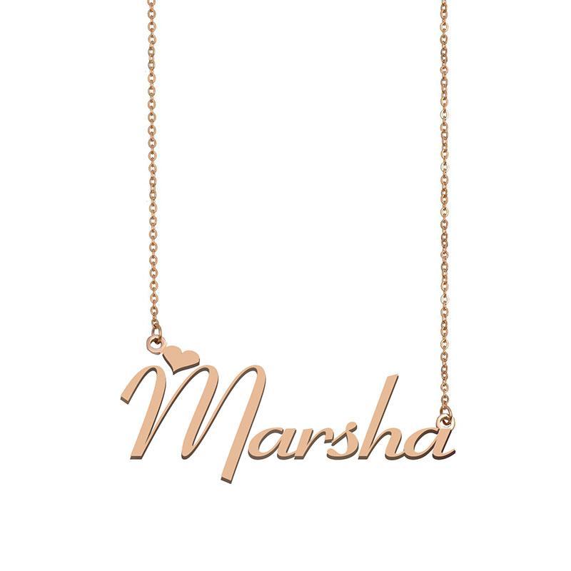 Marsha Name Halskette Anhänger Gewohnheit personalisiert für Frauen Mädchen Kinder Beste Freunde Mütter Geschenke 18 Karat vergoldetem Edelstahl