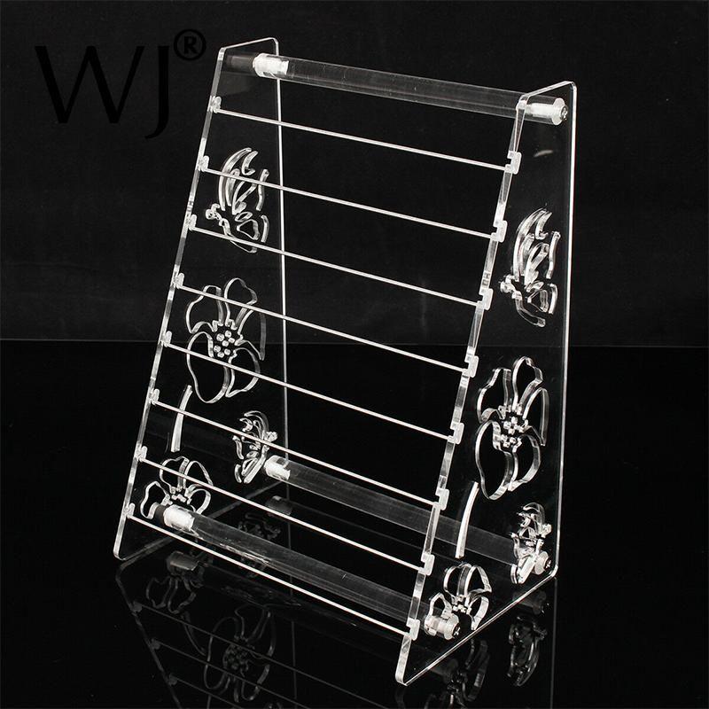 Acrílico transparente 8 camada de metal barra pulseira charme miçangas titular de exposição de jóias Suporte Europeu Beads Brincos Organizador