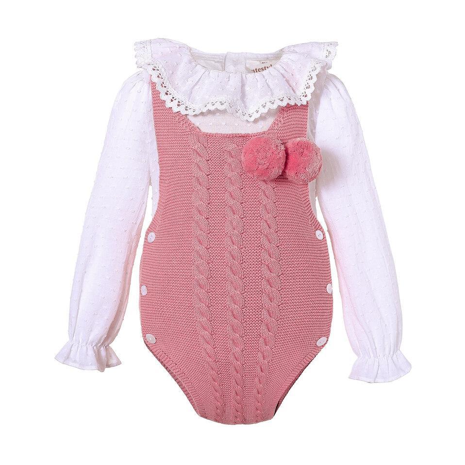 Pettigirl Newborn Sweater Boy Jumpsuit White Blouse With Lotus Leaf Collar Girls Baby Rompers Dark Pink Baby Onesie U-DMCS307-434DP