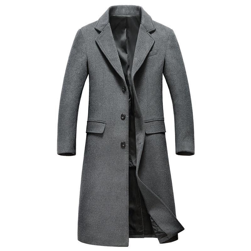 الرجال الصوف يمزج لطيف عارضة معاطف سترات قميص الرجال الرياح الشتاء معطف الأزياء طويلة نمط الصوف خندق معطف سترة