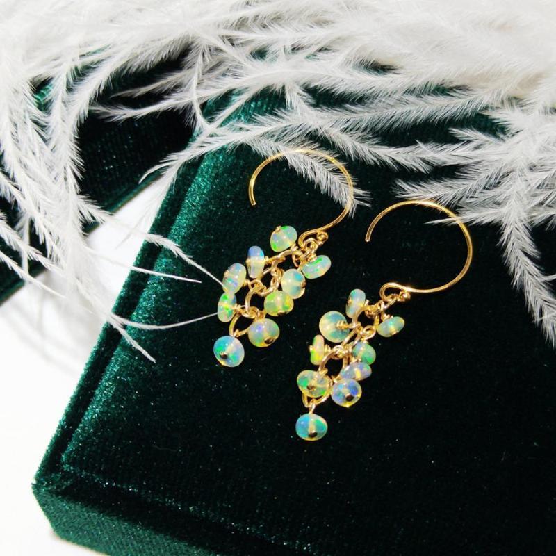 Lii ji natürliche äthiopien opal 14k gold gefüllt ohrringe echte opal gold farbe handgefertigte schmuck