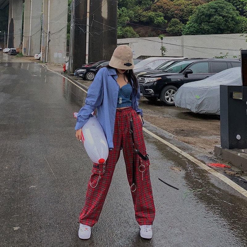 HOUZHOU punk catena pantaloni larghi del piedino pantaloni vita alta Donne plaid per le donne 2020 Vintage scacchi Streetwear Hip Hop Fashion
