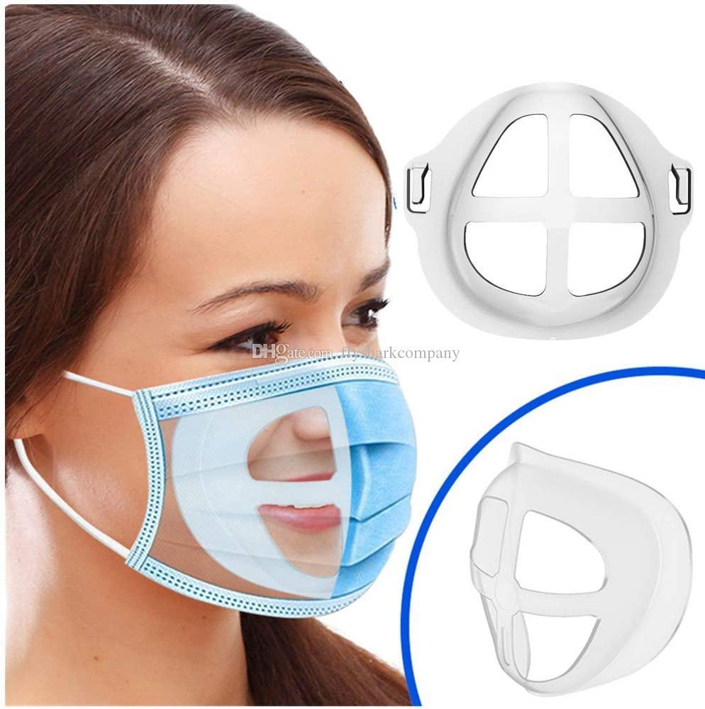 3D Maschera staffa di supporto respirazione Assist Aiuto Mask cuscino interno Staffa silicone del commestibile Designer Face Porta Maschera traspirante Valve