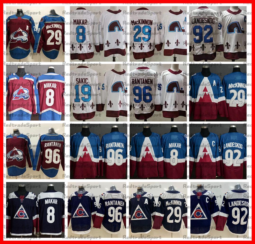 2021 عكس الرجعية Colorado Avalanche 29 Nathan Mackinnon Gabriel Landeskog Mikko Rantanen 8 Cale Makar 19 Joe Sakic Hockey Jersey